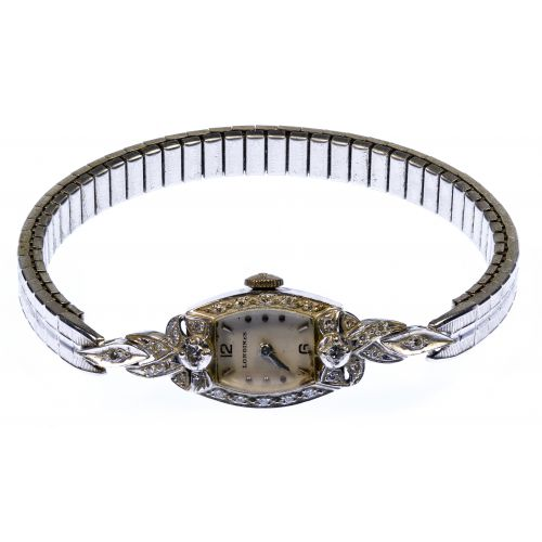 Longines 14k White Gold and Diamond Case Wrist Watch