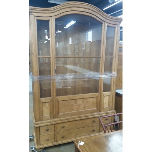 Country French Style Pine China Cabinet and Bookcase
