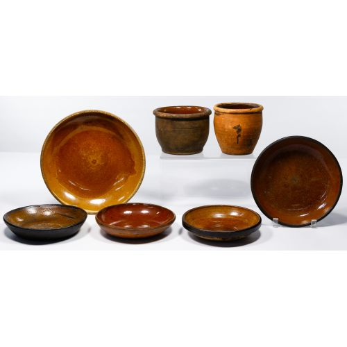 Redware Crock and Bowl Assortment