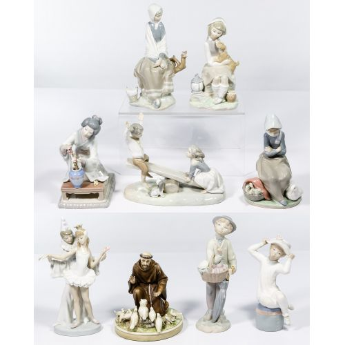 Lladro and Borsato Porcelain Figure Assortment