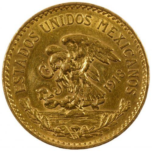 Mexico: 1918 20 Pesos Gold