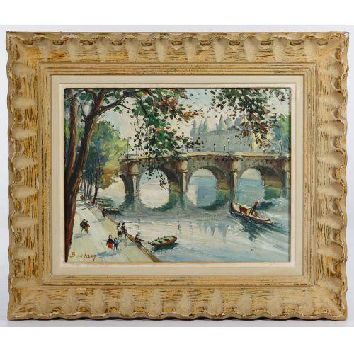 "Bussan (German, 20th Century) ""The Seine"" Oil on Canvas"