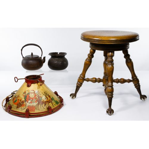 Piano Stool, Christmas Tree Stand and Cast Iron Pot Assortment