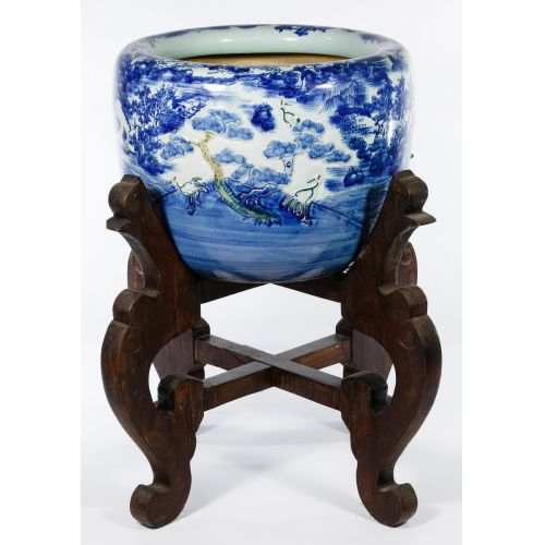 Asian Vase on Wood Stand