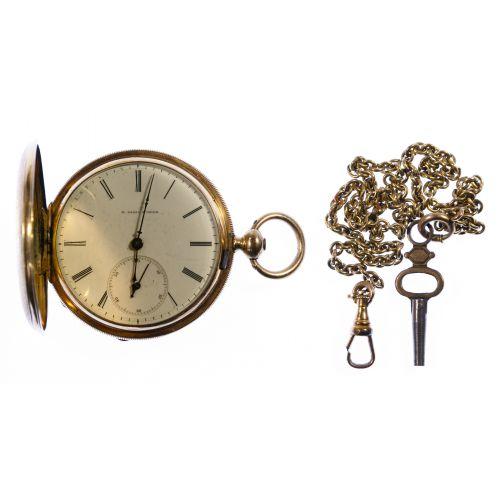 H Laval St Imier 14k Gold Hunter Case Pocket Watch