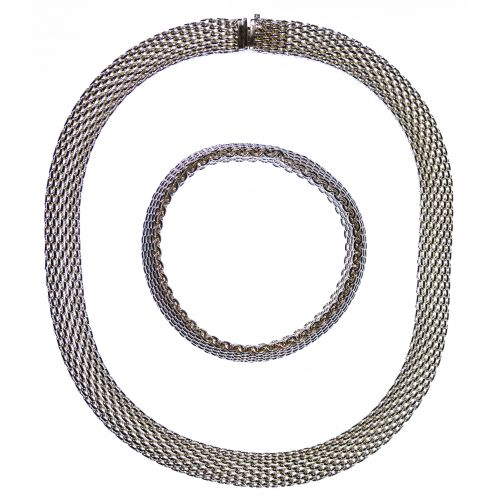 """Tiffany & Co Sterling Silver """"Somerset"""" Mesh Necklace and Bracelet"""