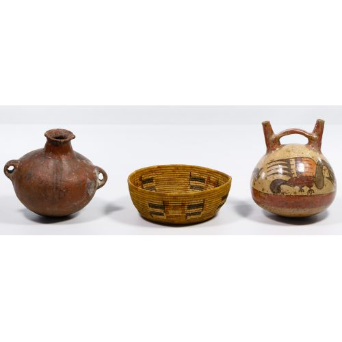 Mission Basket and Indian Pottery Assortment