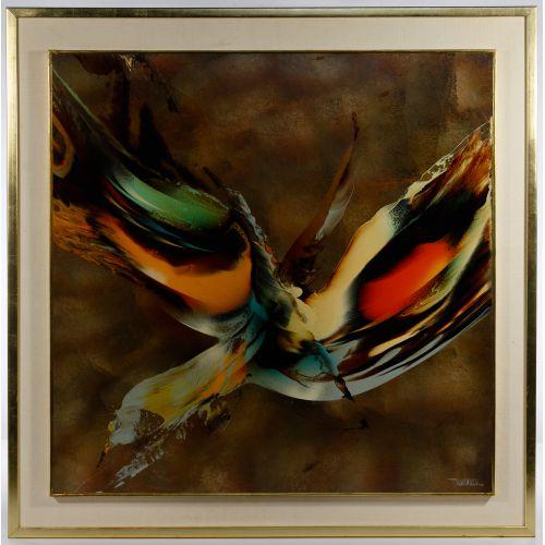 "Leonardo Nierman (Mexican, b.1932) ""Bird of Paradise"" Oil on Masonite"