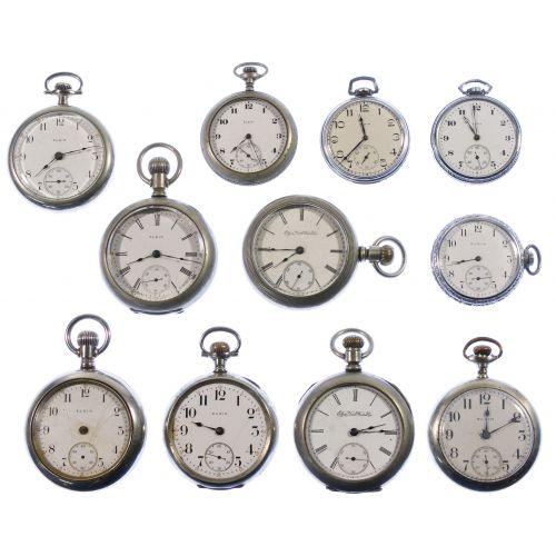 Elgin Open Face Pocket Watch Assortment