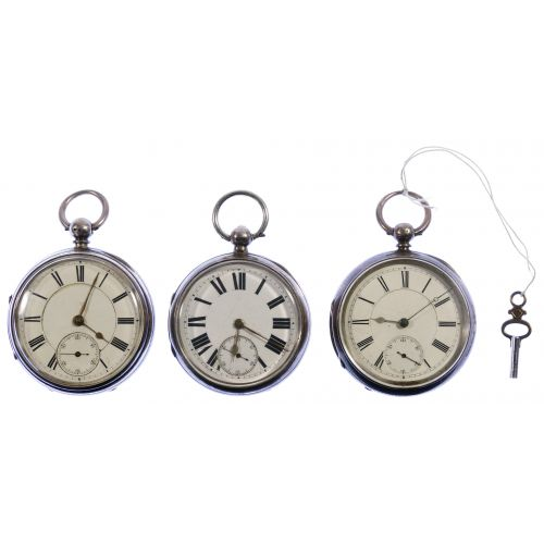 English Sterling Silver Open Face Pocket Watch Assortment