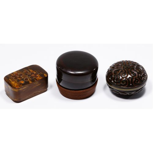 Tin, Cinnabar and Lacquered Wood Box Assortment