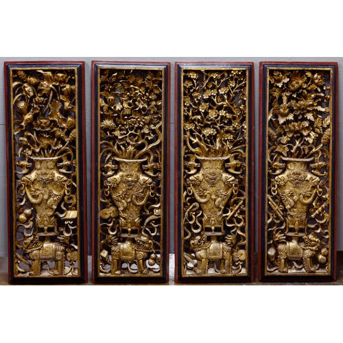 Asian Carved Wood Screens