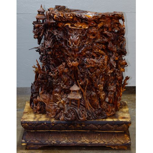 Chinese Carved Wood Vase On Stand