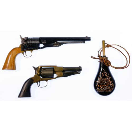 Black Powder Revolver and Powder Flask Assortment
