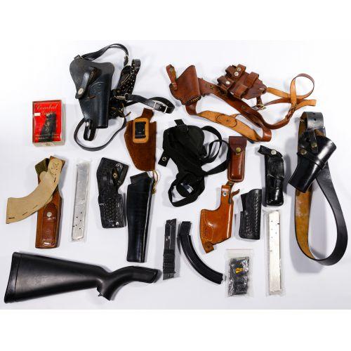 Holster, Gun Stock and Magazine Assortment