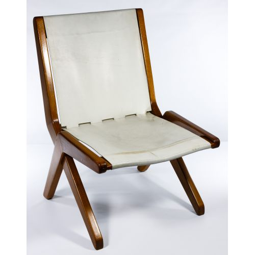 MCM Leather and Teak Chair