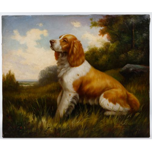 Jim Hutt (American, 20th Century) Brittany Spaniel Oil on Canvas