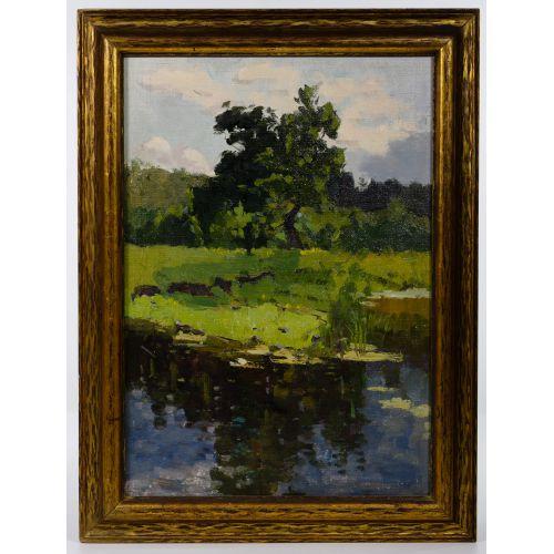 "(Attributed to) Boris Fyodorovitch Fayenkov (Russian, 20th Century) ""River Landscape"" Oil on Canvas"