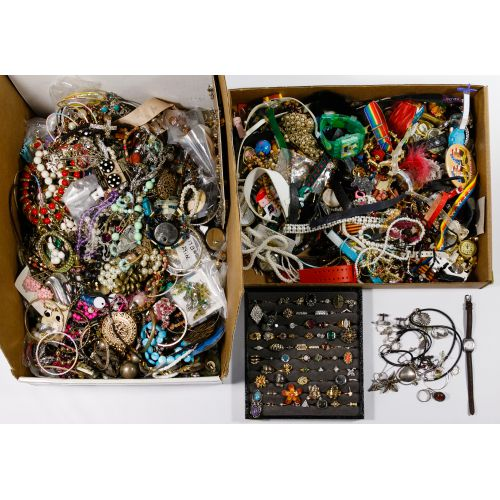 Sterling Silver, Costume Jewelry and Wrist Watch Assortment