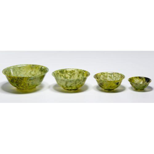 Chinese Jadeite Jade Nesting Bowl Assortment