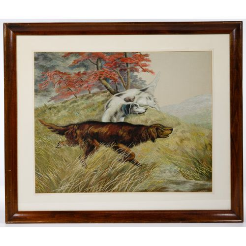 """Silk Embroidered """"Setter"""" Tapestry"""