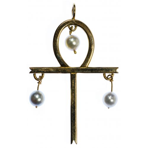 14k Gold and Pearl Ankh Pendant