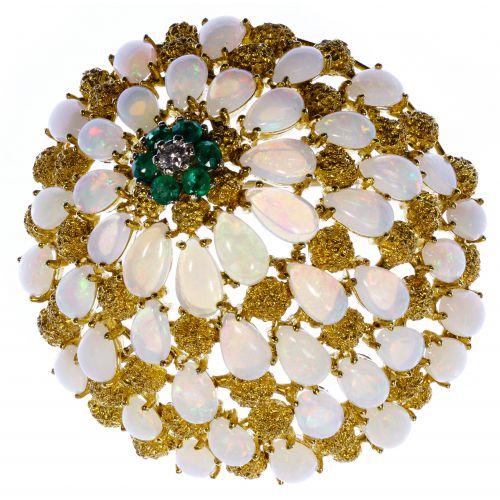 18k Gold, Opal, Emerald and Diamond Brooch