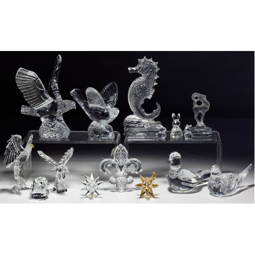 Lalique, Baccarat, Waterford and Swarovski Crystal Figurine Assortment