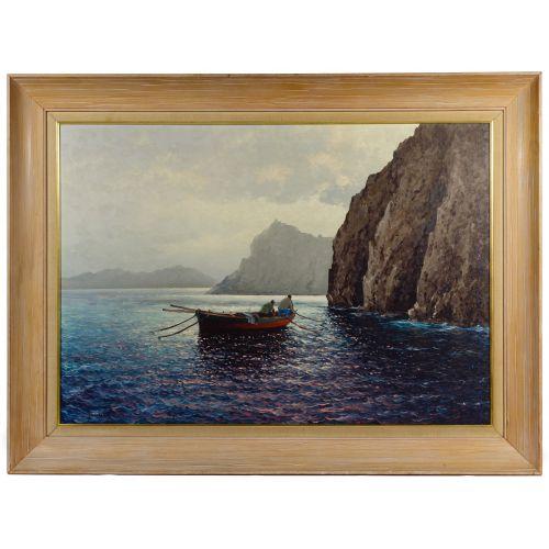 "Guido Odierna (Italian, 1913-1991) ""The Fishermen"" Oil on Canvas"