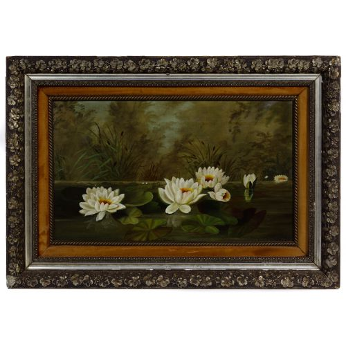 """Unknown Artist (American, 19th Century) """"Water Lilies"""" Oil on Canvas"""