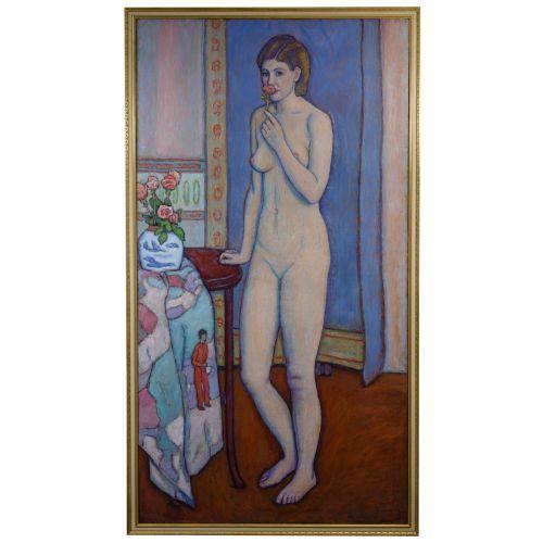 "Joseph Grossman (American, 1889-1979) ""Model with a Rose"" Oil on Linen"