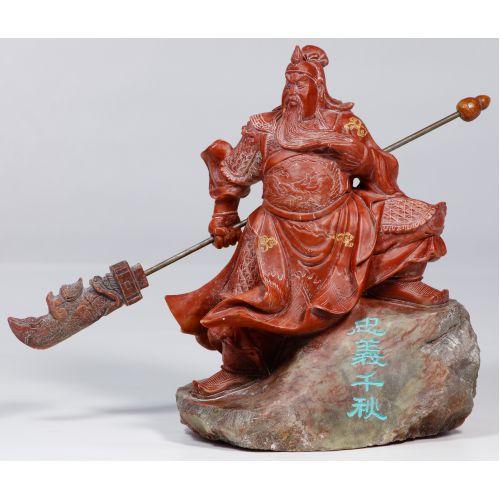 Chinese Jadeite Jade Guan Gong Yu Statue