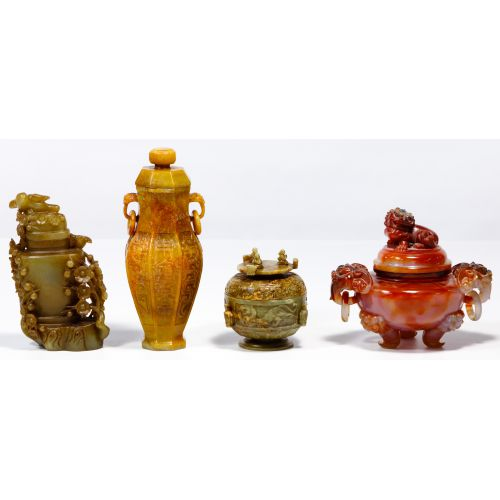 Chinese Jadeite Jade Vessel Assortment