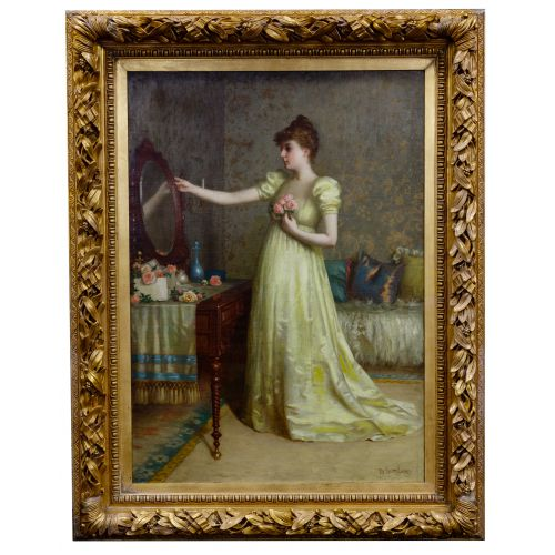 """De Scott (David) Evans (American, 1847-1898) """"Figure at the Vanity - Finishing Touch"""" Oil on Canvas"""