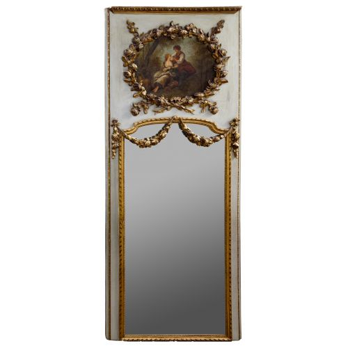 Trumeau Gilt Mirror with Painted Roundel