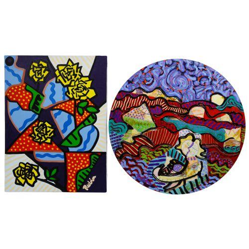 "Marc R Rubin (American, 20th Century) ""Five Yellow Roses"" Acrylic on Canvas"