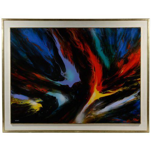 "Leonardo Nierman (Mexican / American, b.1932) ""Solar Flame"" Oil on Masonite"