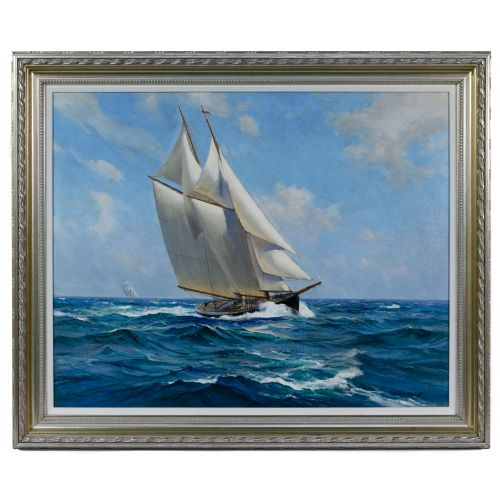 """Charles Vickery (American, 1913-1998) """"Steady Wind"""" Oil on Canvas"""
