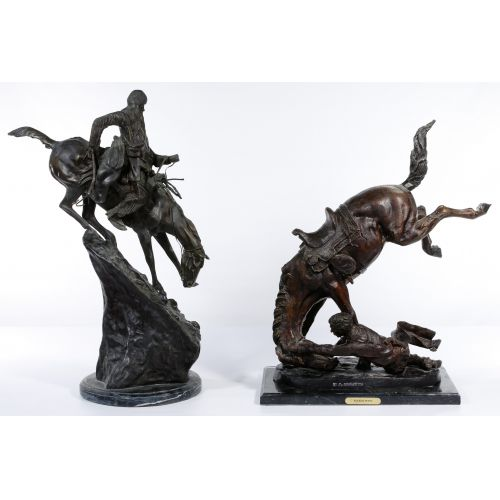 (After) Frederic Remington (American, 1861-1909) Bronze Statues
