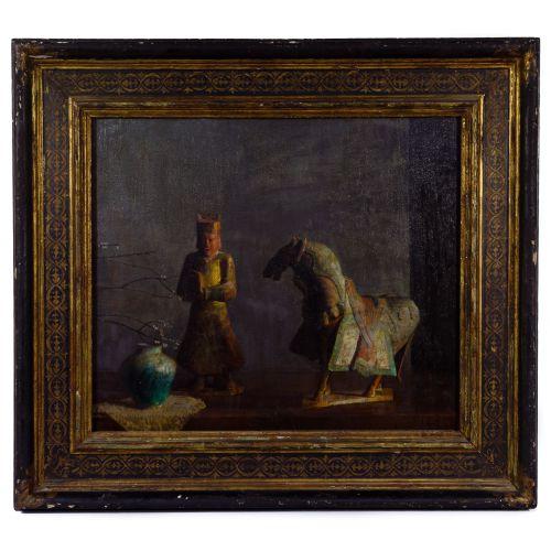 "Hosvep Pushman (Armenian / American, 1877-1966) ""Sacred Chinese Horse"" Oil on Panel"