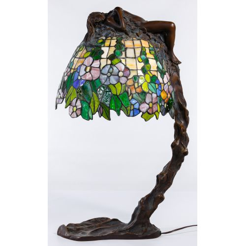(After) Emil Thomasson (19th/20th Century) Bronze and Stained Glass Lamp