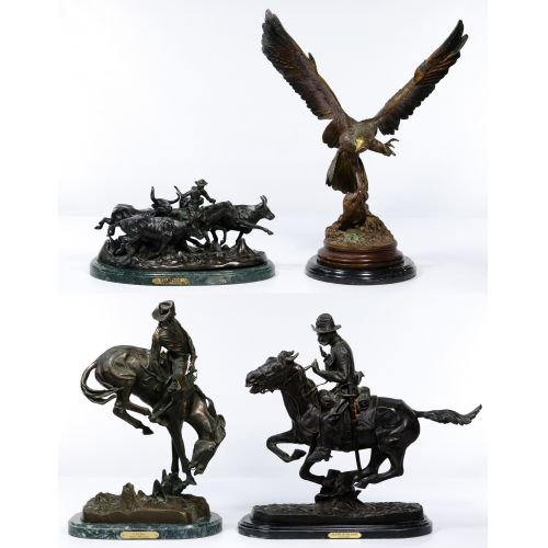 (After) Frederic Remington (American, 1861-1909) Bronze Statue Assortment