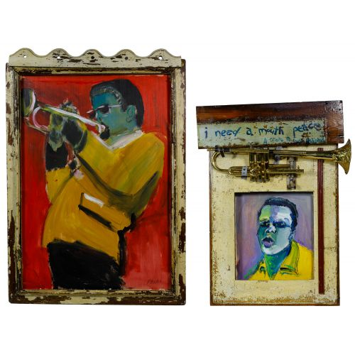 "Wayne Manns (American, 20th Century) ""The Man with the Horn"" Acrylic and Found Objects on Panel"
