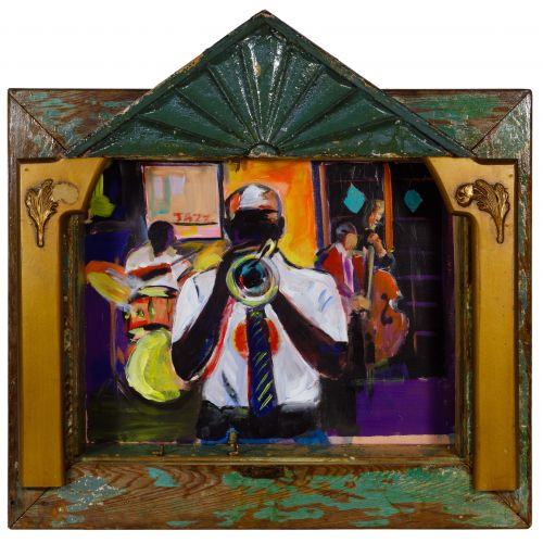 "Wayne Manns (American, 20th Century) ""Trumpet Player"" Acrylic and Found Objects on Panel"