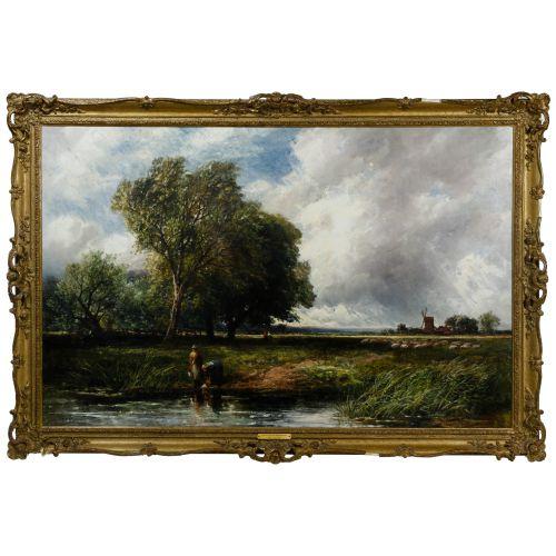 "Edmund Morrison Wimperis (English, 1835-1900) ""Summer Landscape After Rain"" Oil on Canvas"