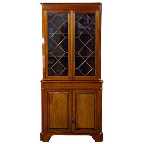 Mahogany Double Door Corner Cabinet