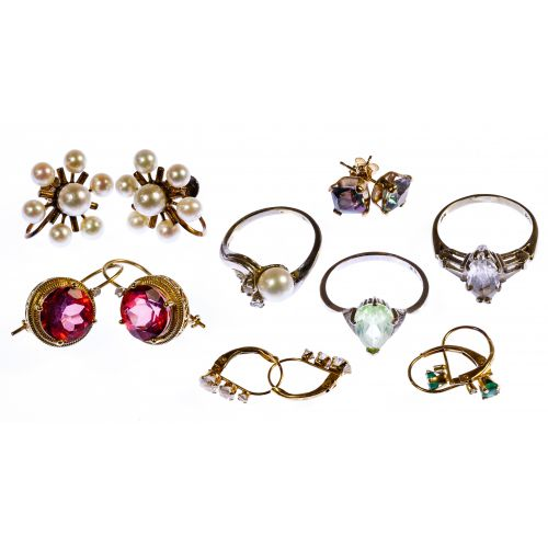 10k White Gold and Yellow Gold Jewelry Assortment