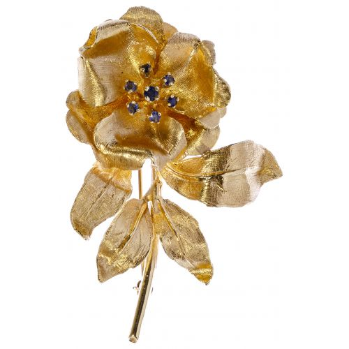 14k Yellow Gold and Sapphire Brooch