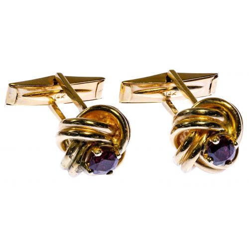 14k Gold and Ruby Cufflinks