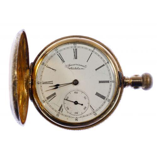 American Waltham 14k Gold Hunt Case Pocket Watch